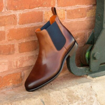 Custom Made Chelsea Boot Classic in Burnished Medium Brown Painted Calf Leather