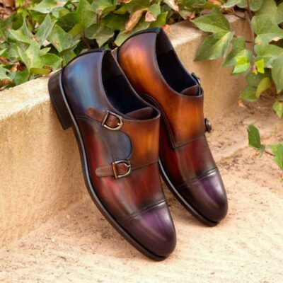 Custom Made Double Monks in Multi Color Hand Patina on Italian Raw Crust Leather with Blackwatch Wool