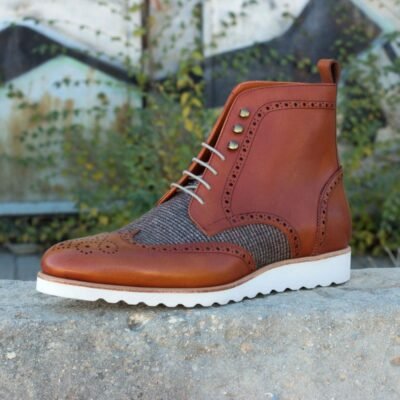 Custom Made Military Brogue Boot in Cognac Painted Calf Leather with Tweed Sartorial