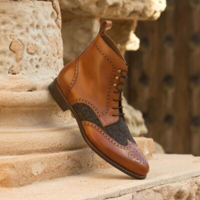 Custom Made Military Brogue Boot in Cognac Polished Calf and Nailhead Sartorial