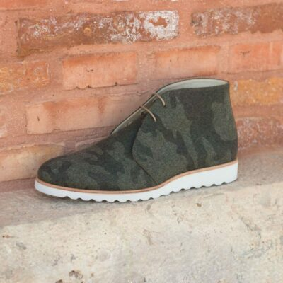 Custom Made Chukka Boot in Camo Flannel with Cognac Box Calf Leather