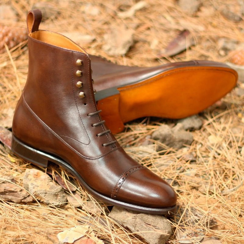 Custom Made Balmoral Boot in Dark Brown Hand Painted Calf Leather