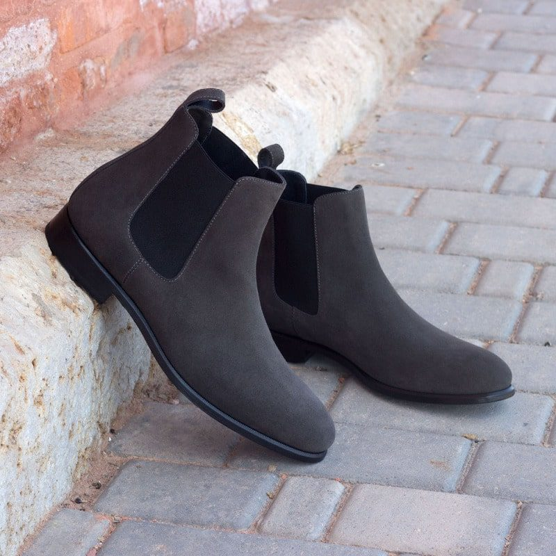 Custom Made Chelsea Boot Classic in Grey Luxe Suede