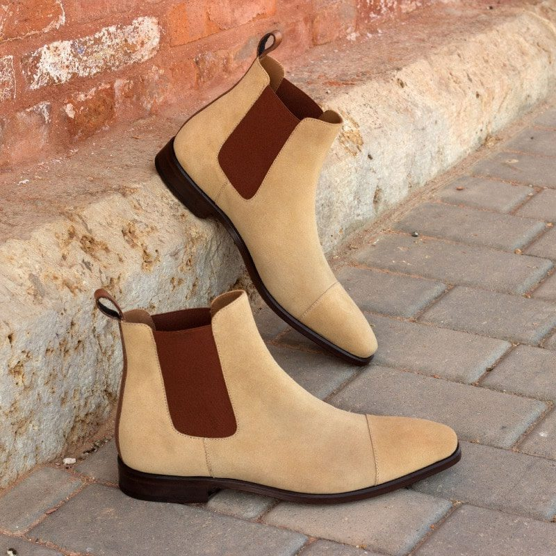 Custom Made Chelsea Boot Classic in Medium Brown Painted Calf Leather and Sand Luxe Suede