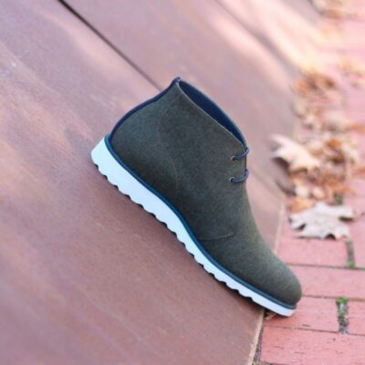 Custom Made Chukka Boot in Green Flannel and Navy Blue Luxe Suede