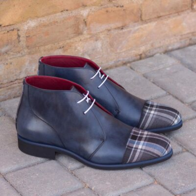 Custom Made Chukka Boot in Navy Blue Painted Calf Leather and Plaid Sartorial