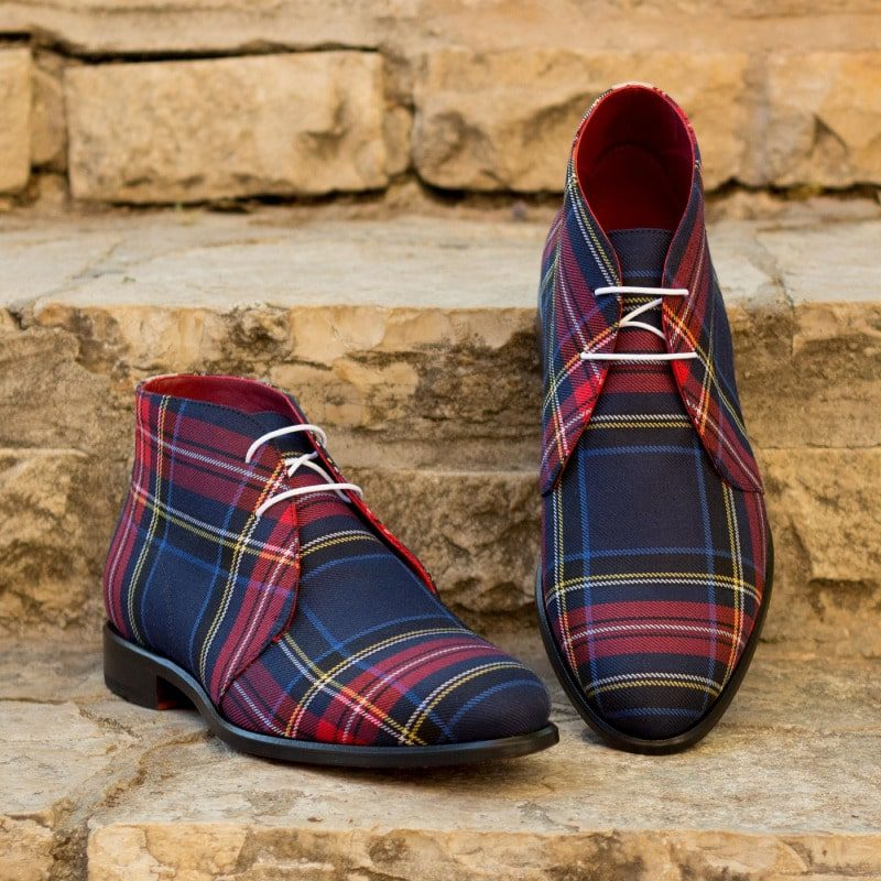 Custom Made Chukka Boot in Tartan Sartorial and Ivory Kid Suede