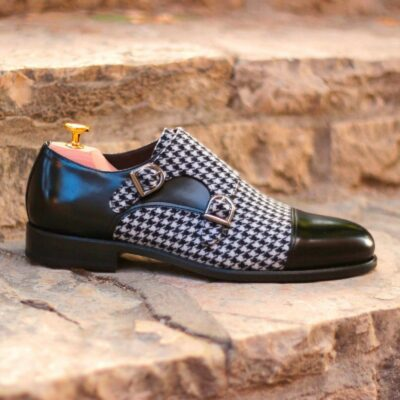 Custom Made Double Monks in Black Box Calf Leather and Houndstooth Sartorial