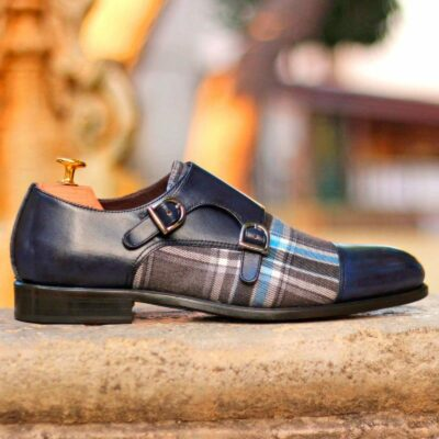 Custom Made Double Monks in Navy Blue Painted Calf and Plaid