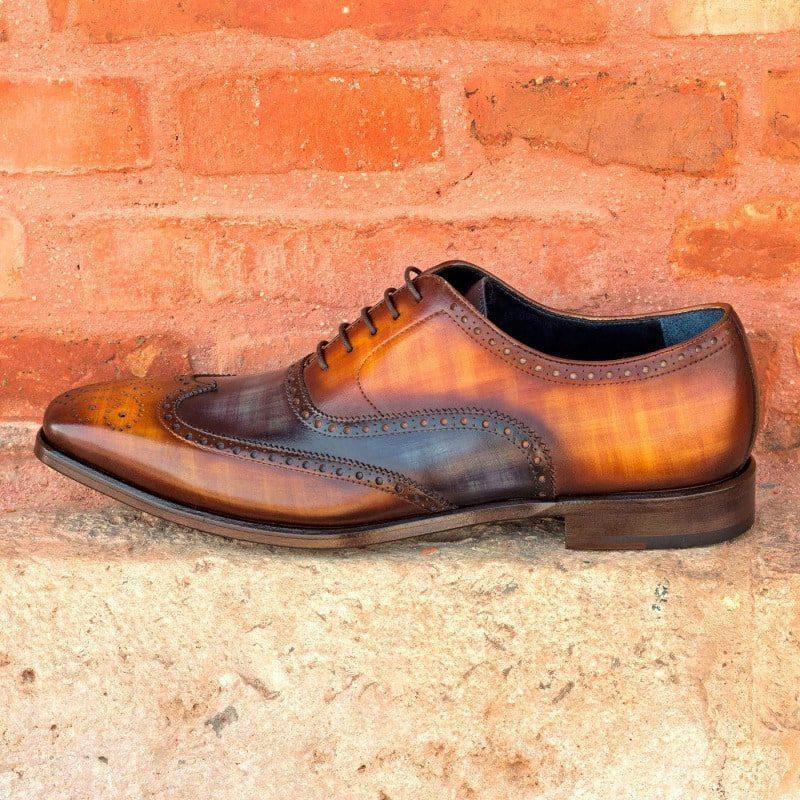 Custom Made Full Brogues in Italian Raw Crust Leather with Cognac and Denim Blue Hand Patina