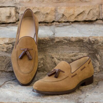 Custom Made Loafers in Camel Luxe Suede with Medium Brown Box Calf Leather Tassels