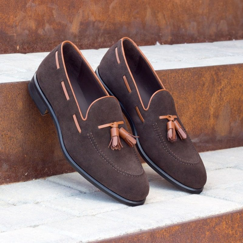 Custom Made Loafers in Dark Brown Luxe Suede with Cognac Box Calf Tassels