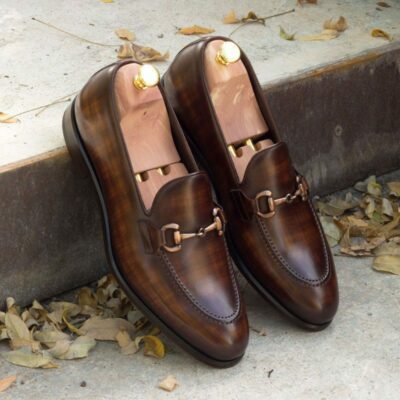 Custom Made Loafers in Italian Raw Crust Leather with Cognac and Brown Papiro Hand Patina