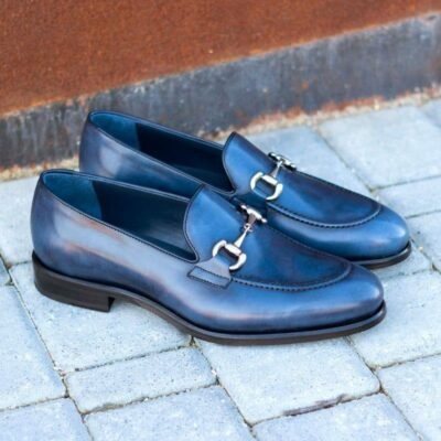 Custom Made Loafers in Navy Blue Painted Calf Leather with Nickel Bit