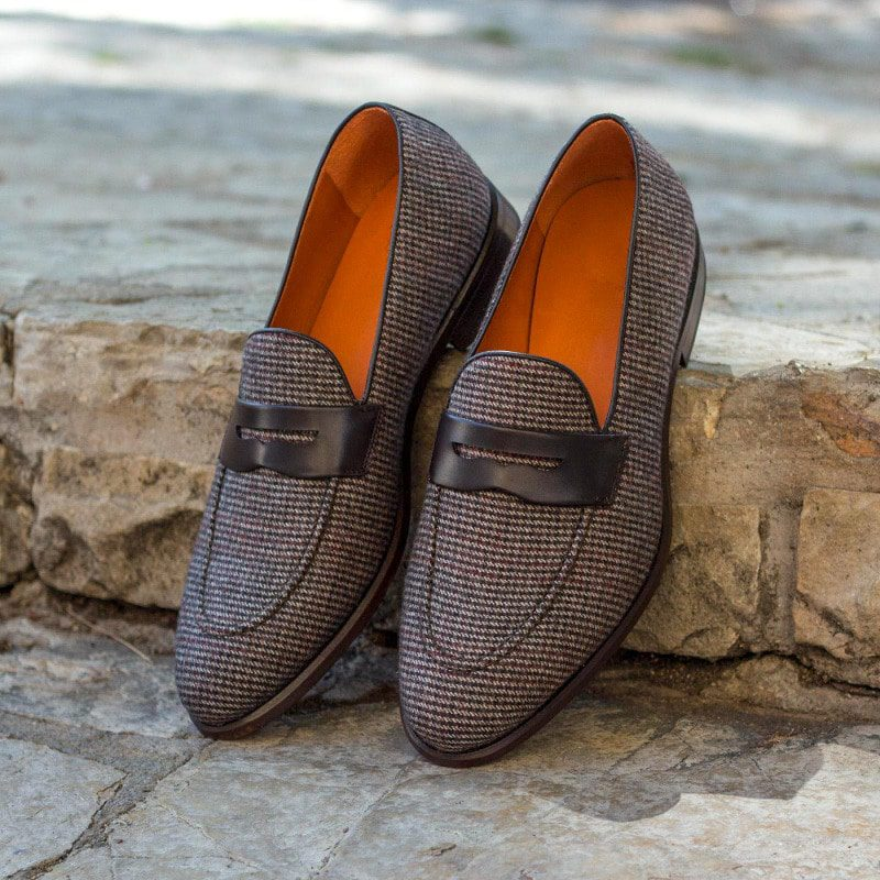 Custom Made Loafers in Tweed Sartorial with Dark Brown Box Calf Leather Mask