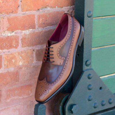 Custom Made Long Wingtip Blucher in Dark and Medium Brown Painted Calf Leather