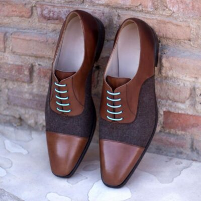 Custom Made Oxford, Brown Flannel and Medium Brown Hand Painted Calf Leather