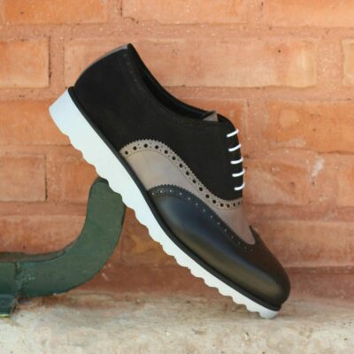 Custom Made Wingtips in Black Box Calf and Suede with Grey Painted Calf Leather