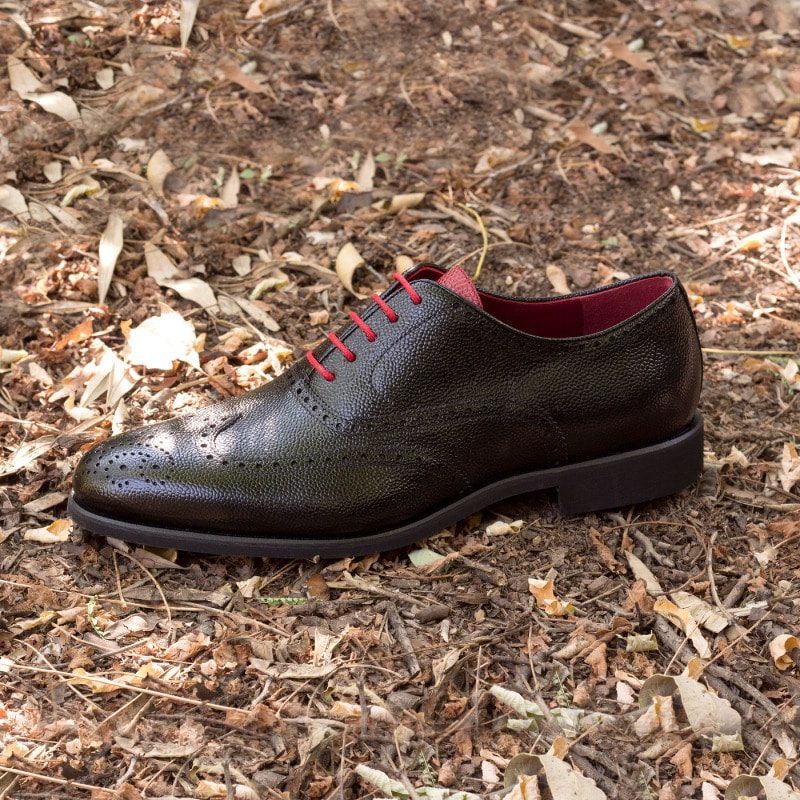 Custom Made Wingtips in Black and Red Pebble Grain Leather