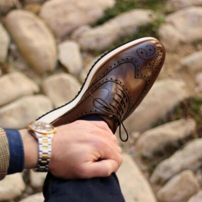Custom Made Wingtips in Dark Brown Painted Calf with Running Sole