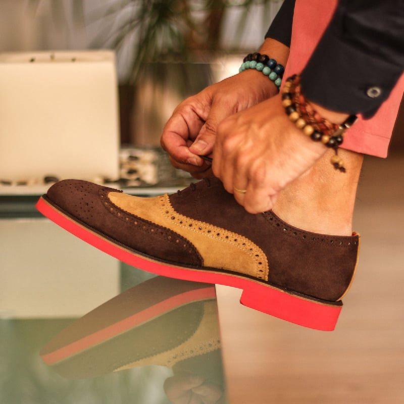 Custom Made Wingtips in Dark Brown and Camel Luxe Suede