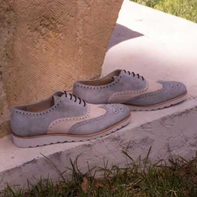 Custom Made Wingtips in Light Grey and Ivory Kid Suede