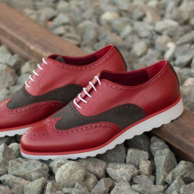 Custom Made Wingtips in Red Pebble Grain and Grey Luxe Suede
