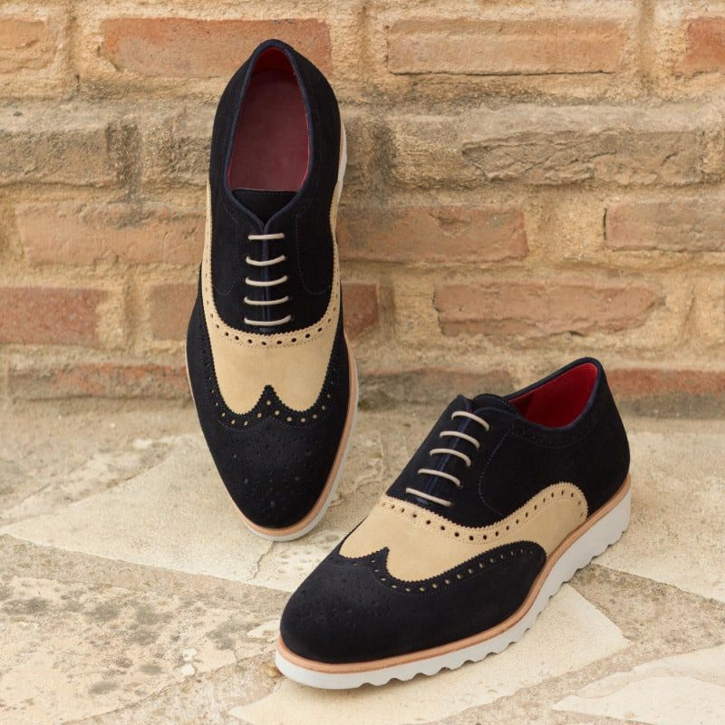 Custom Made Wingtips in Sand and Navy Blue Luxe Suede