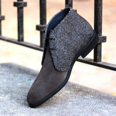 The Chukka Boot in Grey Luxe Suede with Nailhead Sartorial