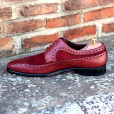 The Longwing Blucher in Burgundy Painted Calf and Wine Kid Suede