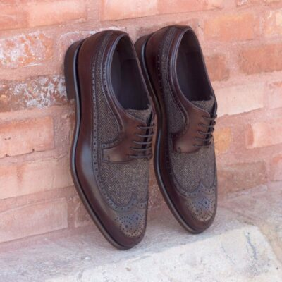 The Longwing Blucher in Dark Brown Painted Calf with Herringbone Sartorial
