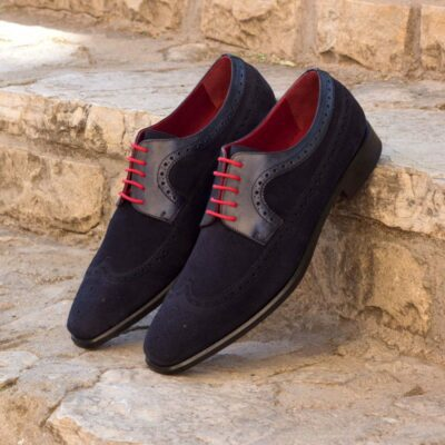 The Longwing Blucher in Navy Blue Luxe Suede and Painted Calf Leather