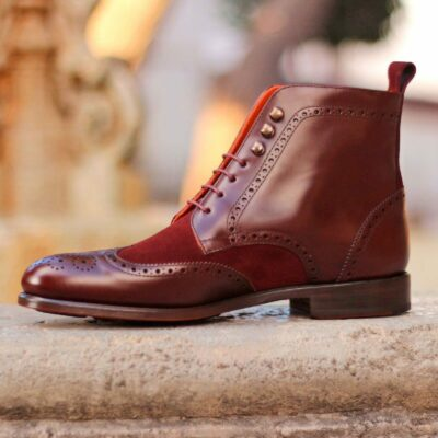The Military Brogue Boot in Burgundy Polished Calf and Luxe Suede
