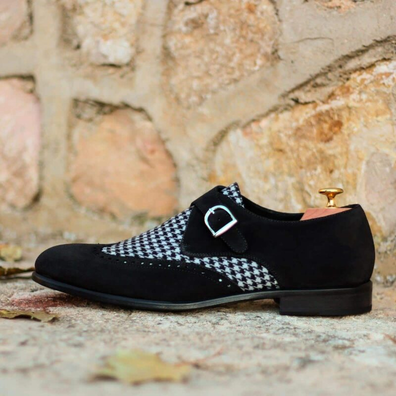 The Single Monk in Black Luxe Suede and Houndstooth Sartorial