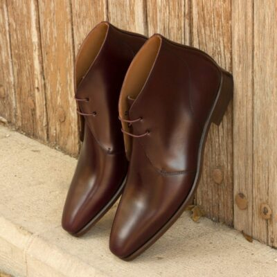 Custom Made Men's Chukka Boot in Burgundy Polished Calf Leather