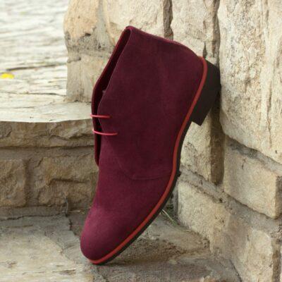 Custom Made Men's Chukka Boot in Wine Kid Suede