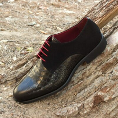 Custom Made Men's Derby in Black Croco Embossed Leather and Kid Suede