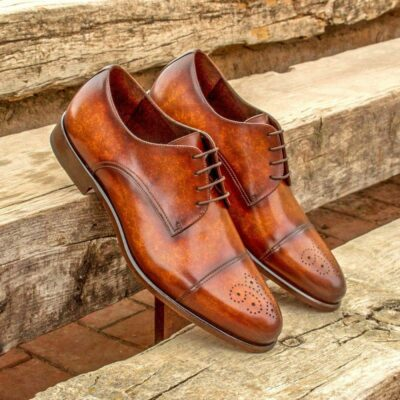Custom Made Men's Derby in Italian Calf Leather with Cognac Marble Hand Patina
