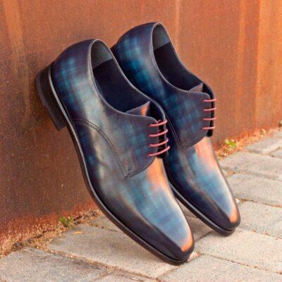 Custom Made Men's Derby in Italian Calf Leather with Denim Blue Papiro Hand Patina
