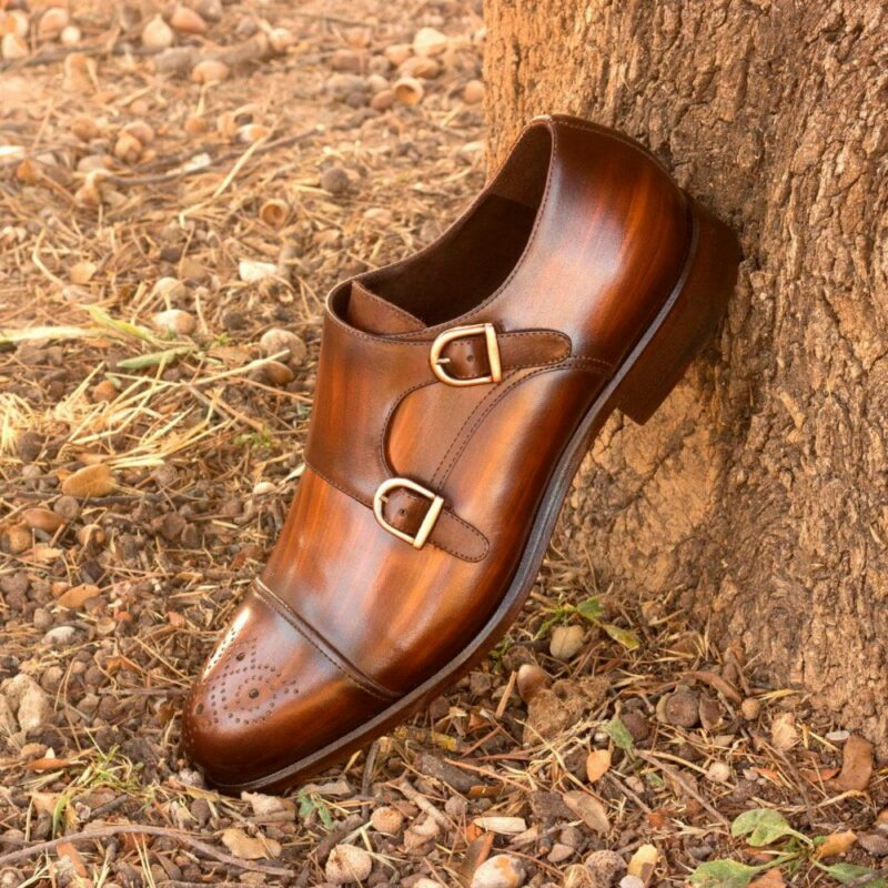 Custom Made Men's Double Monks in Italian Calf Leather with a Brown Hand Patina