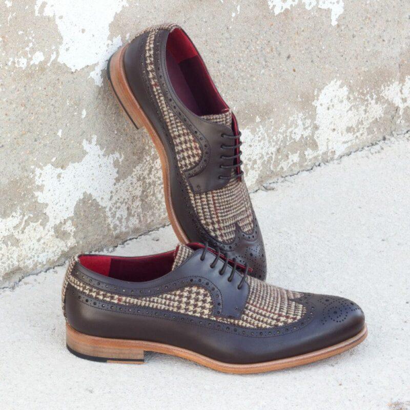 Custom Made Men's Longwing Blucher in Dark Brown Box Calf and Tweed Sartorial