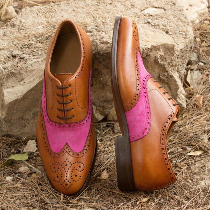 Custom Made Men's Wingtips in Cognac Painted Calf and Fuchsia Kid Suede