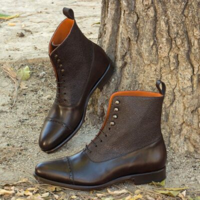 Custom Made Balmoral Boot in Dark Brown Painted Calf and Pebble Grain Leather