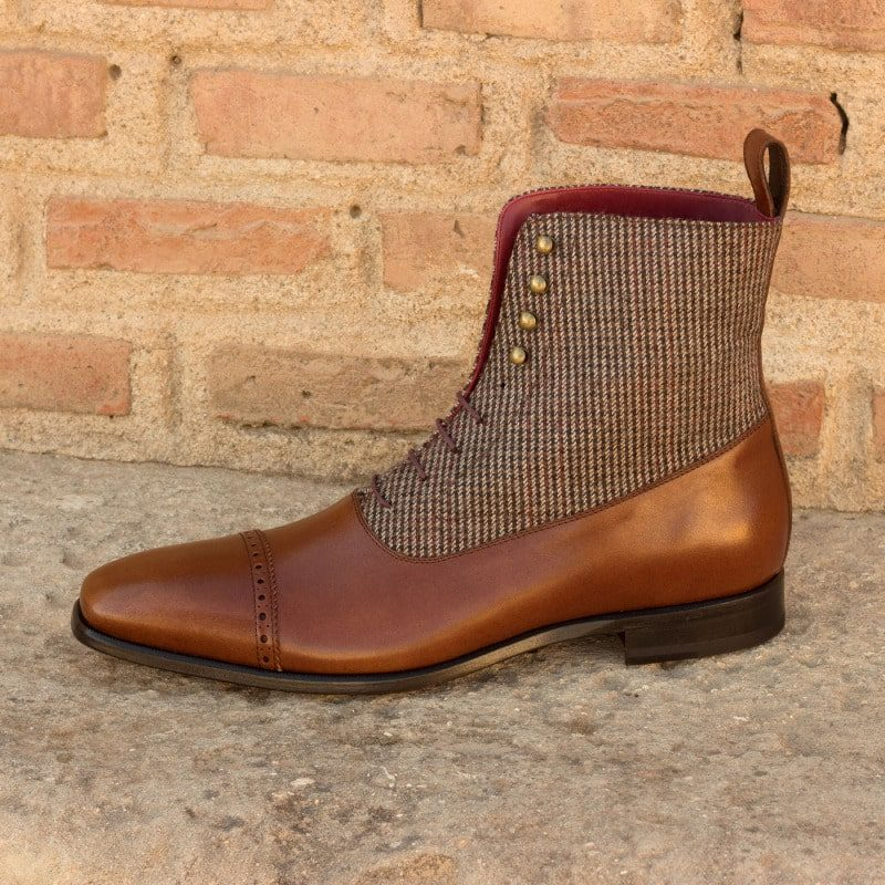 Custom Made Balmoral Boot in Two Tone Brown Painted Calf Leather with Tweed Sartorial