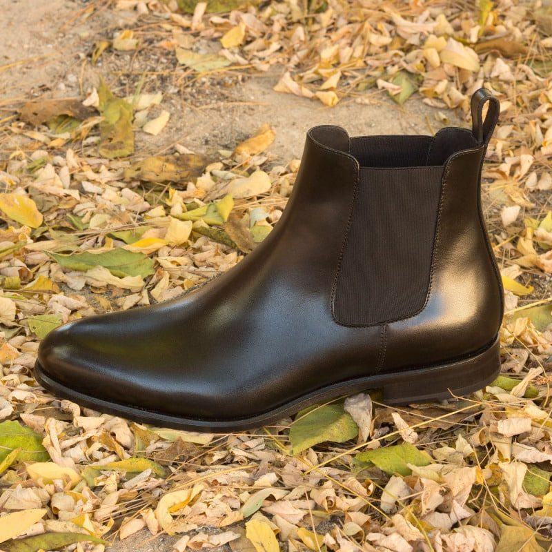 Custom Made Chelsea Boot Classic in Black Box Calf Leather