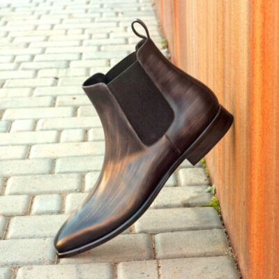 Custom Made Chelsea Boot Classic in Italian Raw Crust Leather with a Grey Hand Patina