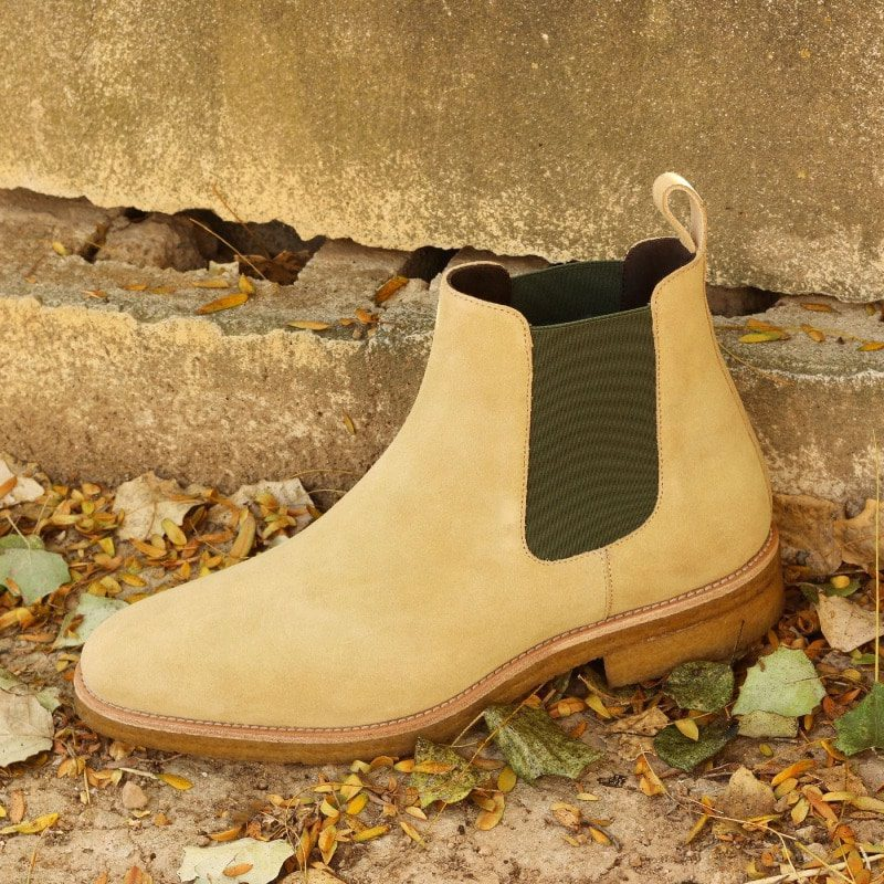 Custom Made Chelsea Boot Classic in Sand Luxe Suede and Khaki Green Elastic