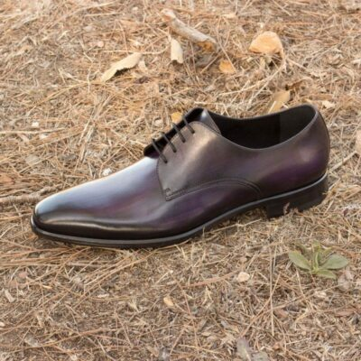 Custom Made Derby in Italian Raw Crust Leather with Purple Hand Patina