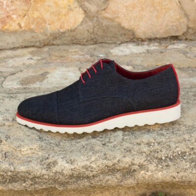 Custom Made Derby in Jeans and Red Kid Suede