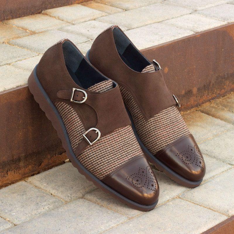 Custom Made Double Monks in Dark Brown Box Calf, Brown Kid Suede and Tweed